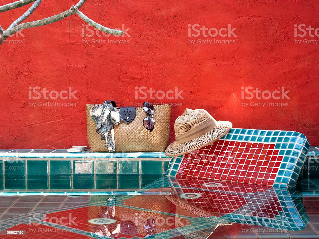 Happy holiday at pool side red concept royalty-free stock photo