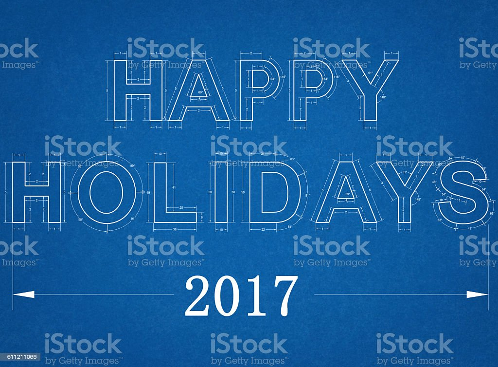 Happy Holidays 2017 - Blueprint stock photo