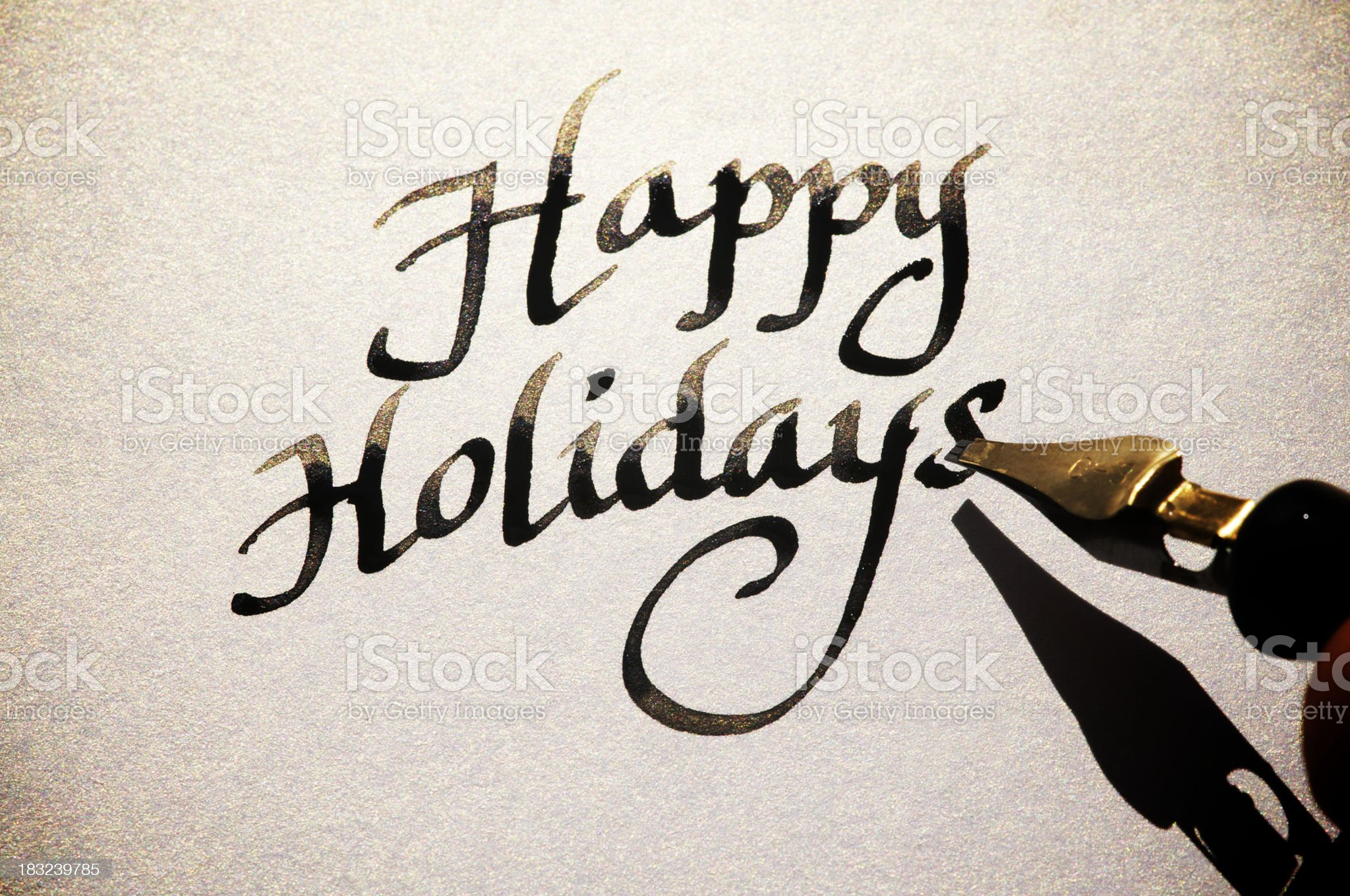 Happy Holidays Greeting Card Message in Old Fashioned Calligraphy royalty-free stock photo