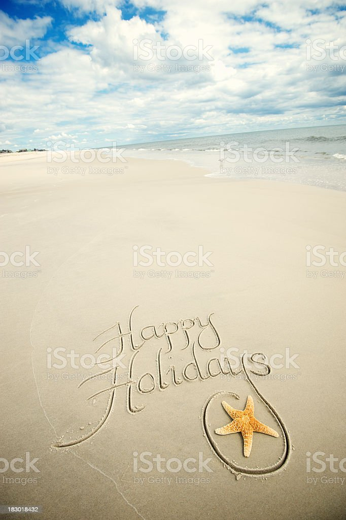 Happy Holidays Greeting Handwritten Message with Starfish royalty-free stock photo