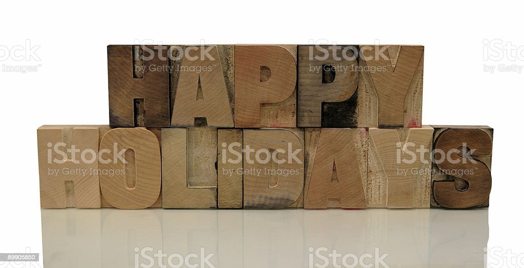 happy holidays in letterpress wood type royalty-free stock photo