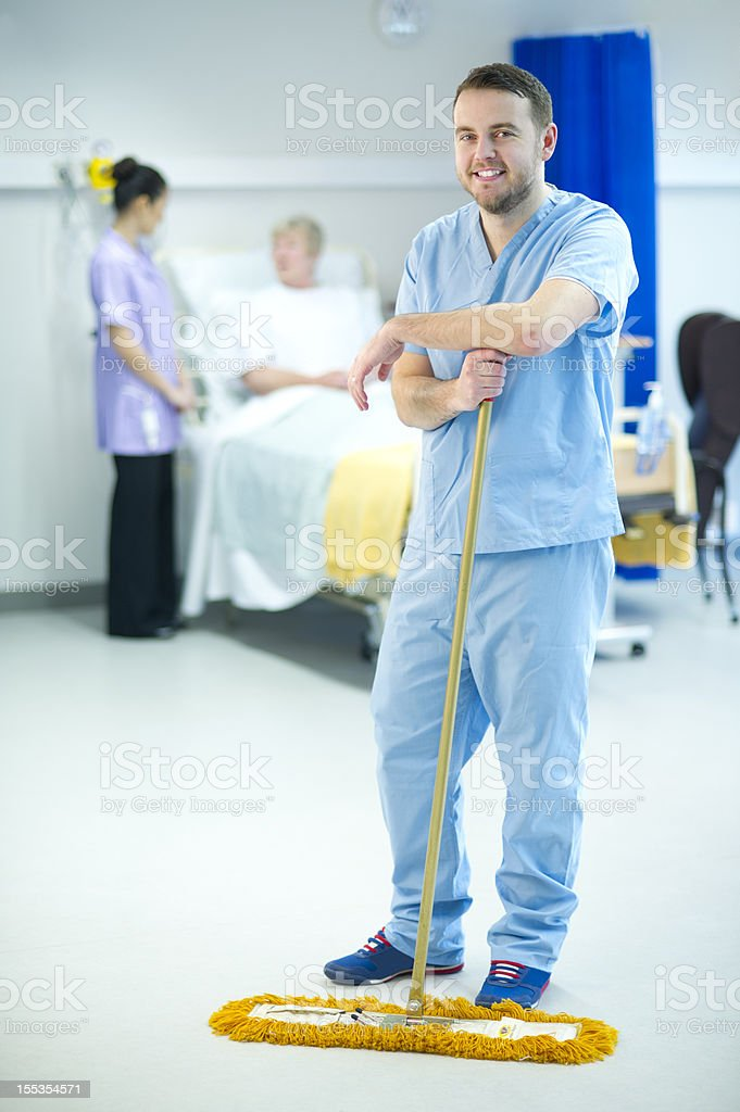 happy hospital janitor stock photo