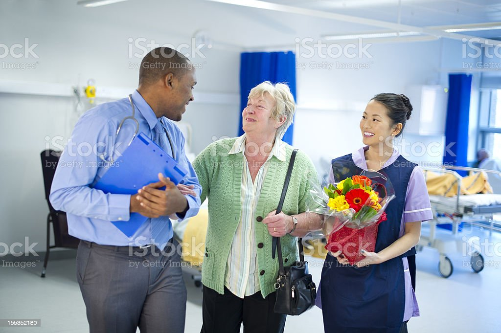 happy hospital stay stock photo