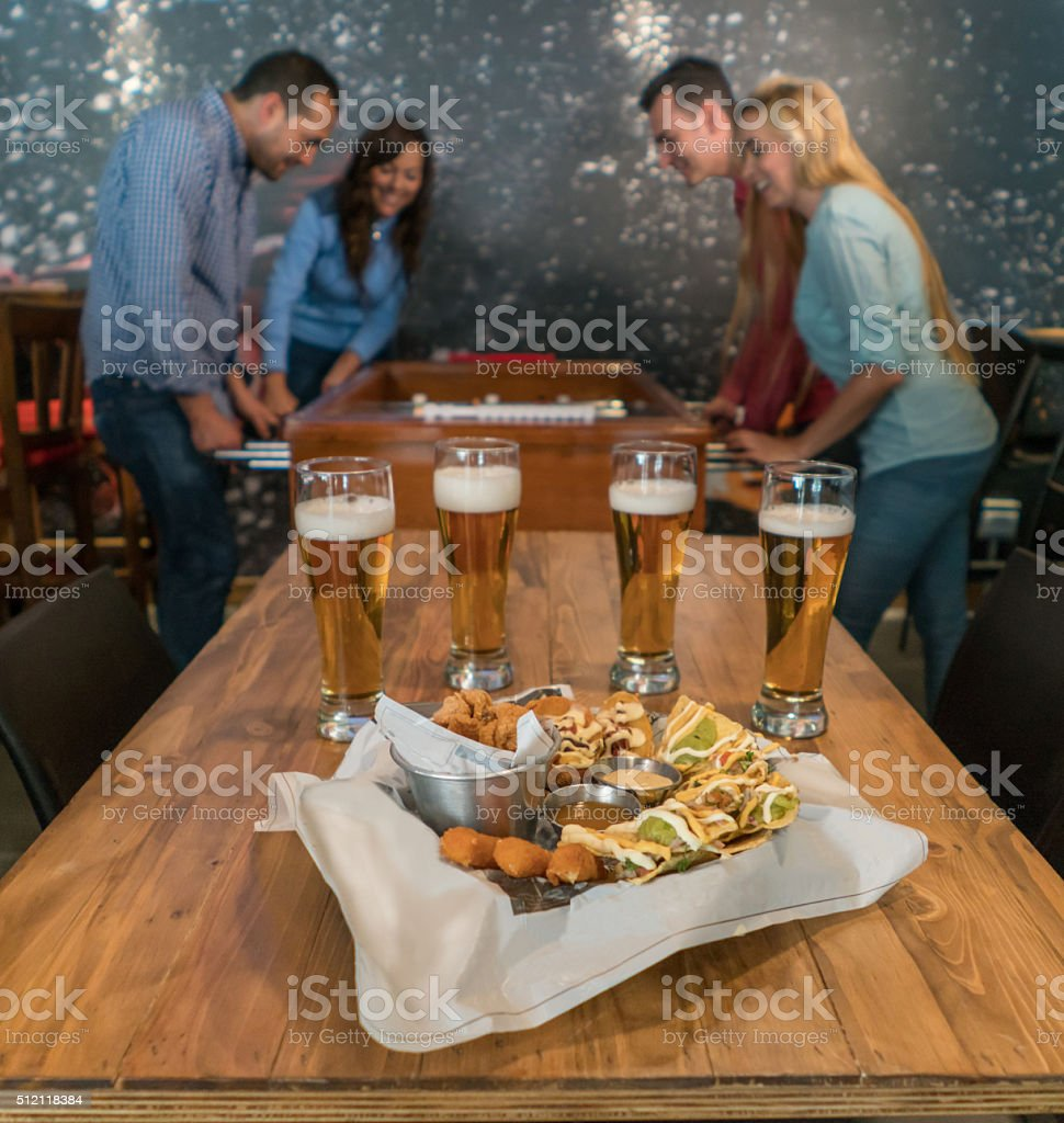 Happy hour at the bar stock photo