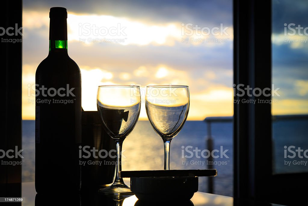 Happy Hour at Tropical Beach Resort Sunset royalty-free stock photo