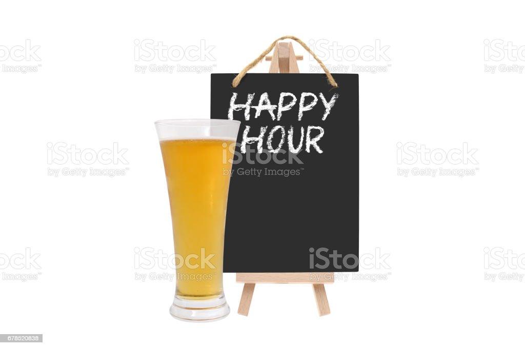 Happy Hour Blackboard Beer Glass stock photo