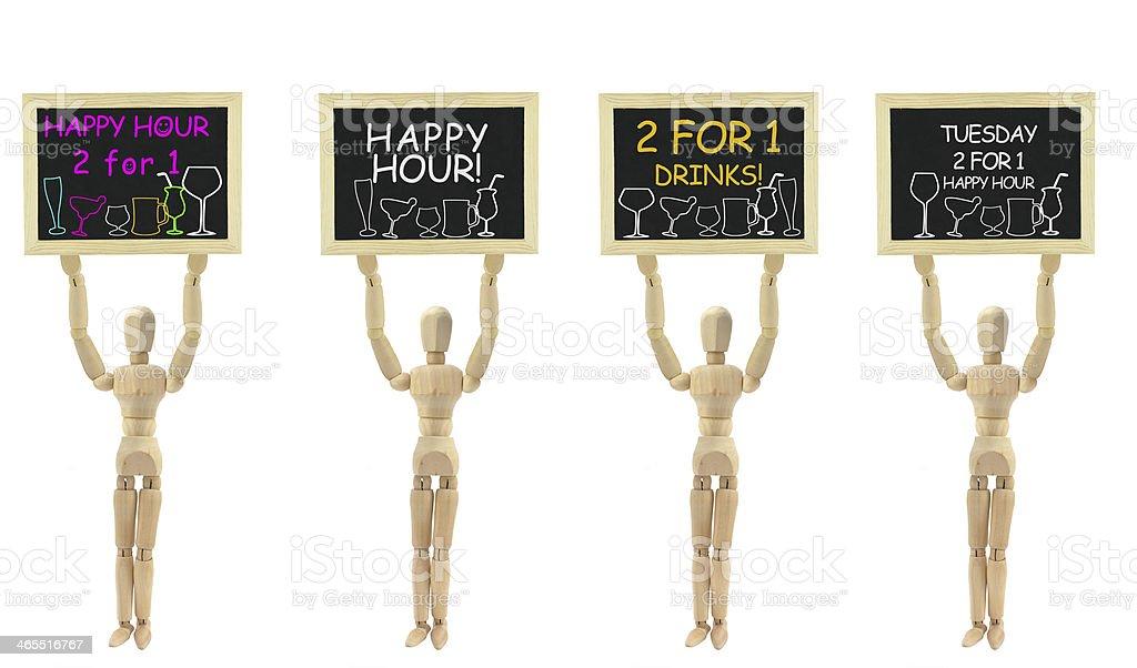 Happy Hour Blackboard Wood Mannequin royalty-free stock photo
