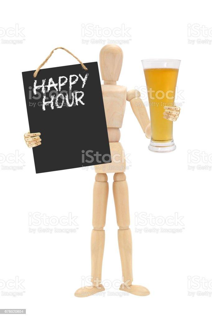 Happy Hour Glass of Beer Mannequin stock photo