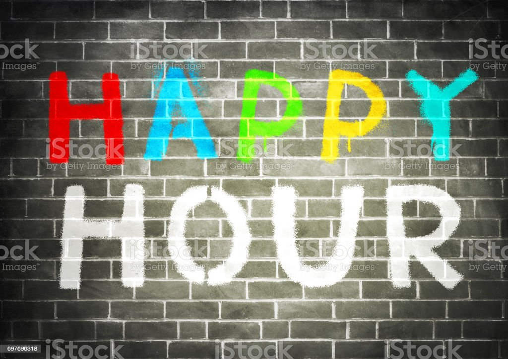 Happy Hour - graffiti stock photo