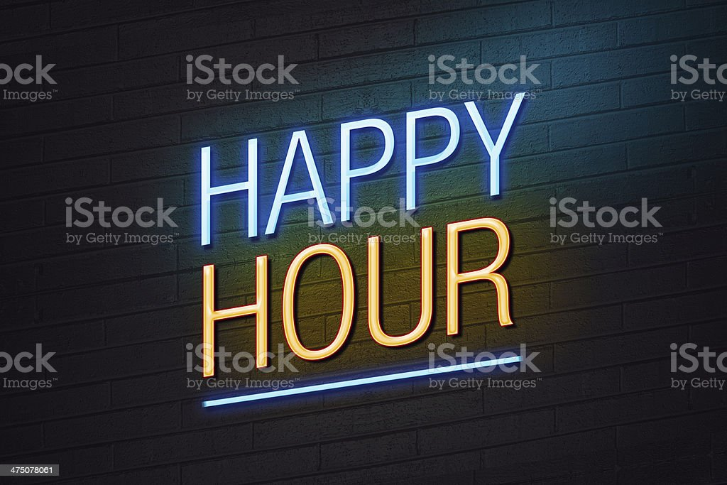 Happy hour neon sign stock photo