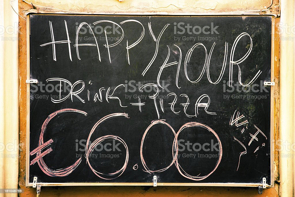 Happy Hour offers on a blackboard royalty-free stock photo