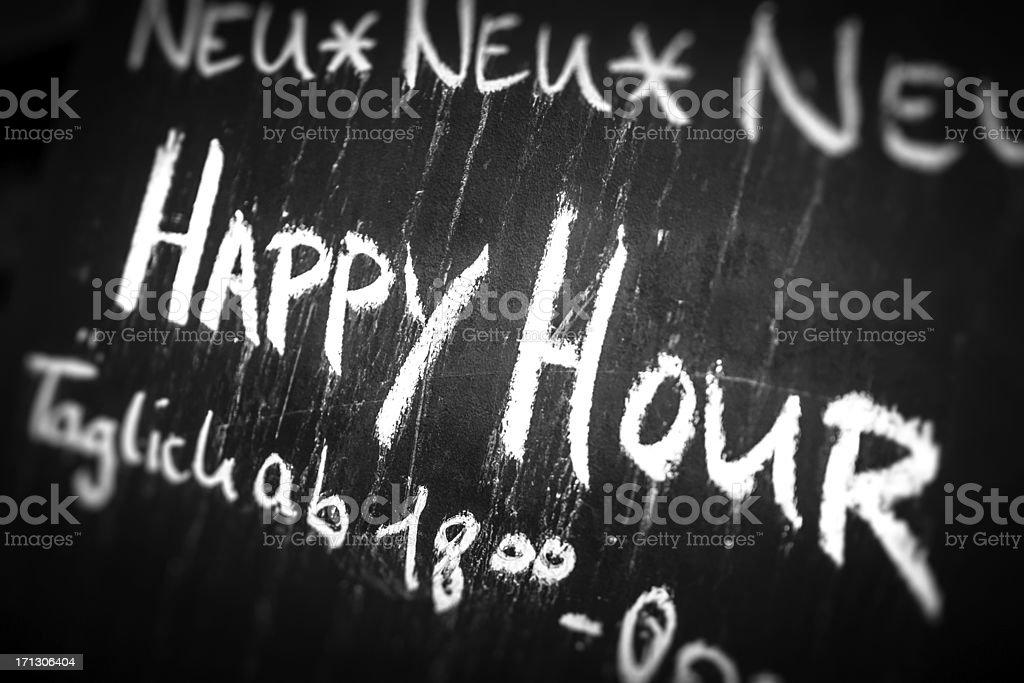 Happy Hour on Blackboard, Germany royalty-free stock photo