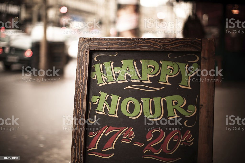Happy Hour Sandwich Board stock photo