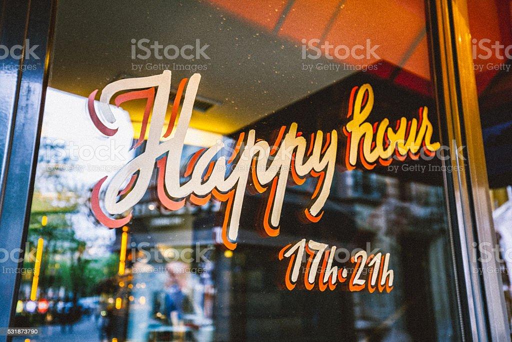 Happy Hour Sign stock photo