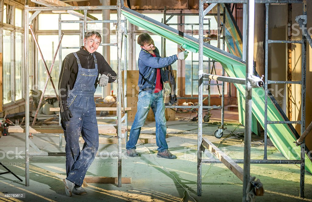 Happy House Painters stock photo