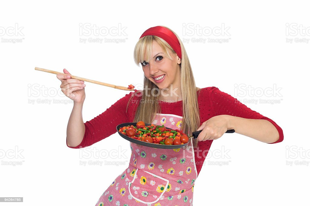 Happy housewife holding frying pan isolated on white background royalty-free stock photo