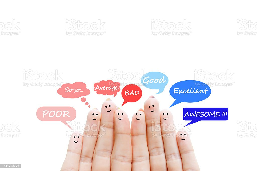 Happy human fingers suggesting feedback and communication concept stock photo