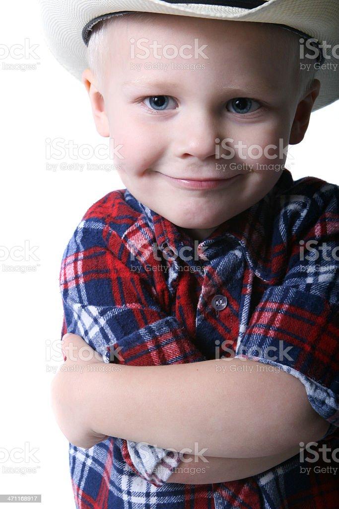 Happy humble cowboy stock photo