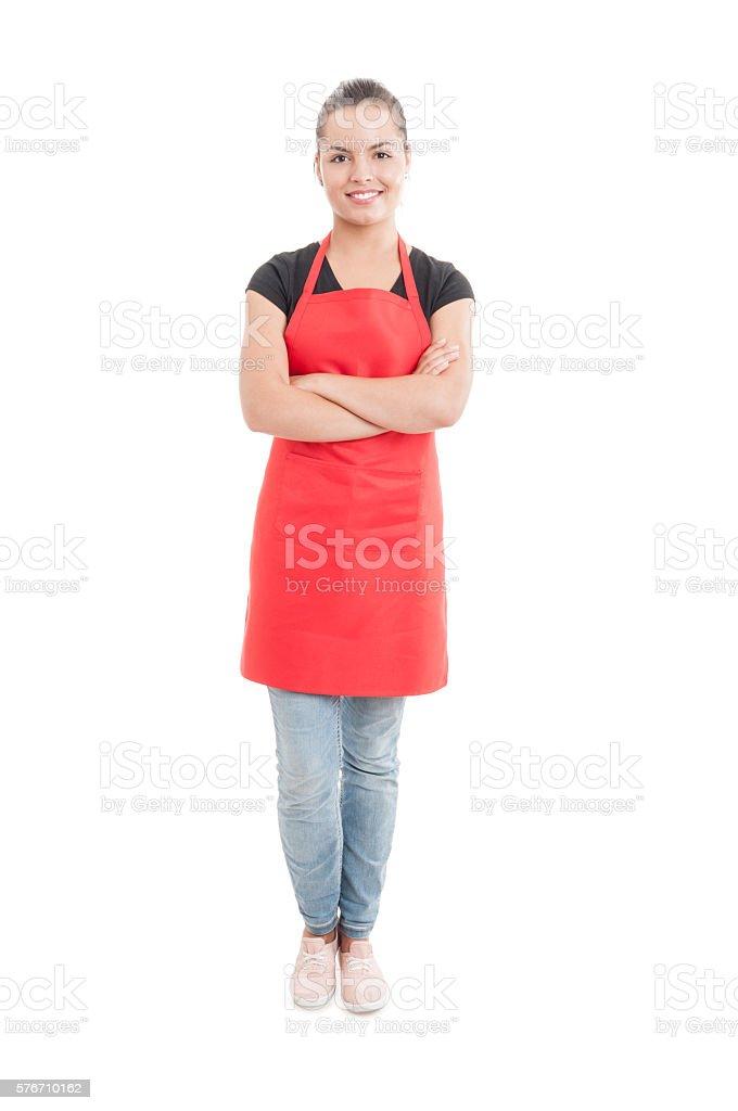 Happy hypermarket seller with confident attitude stock photo