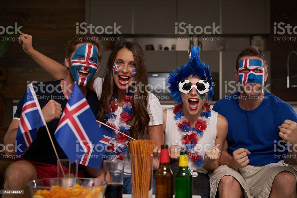 happy iceland fans stock photo