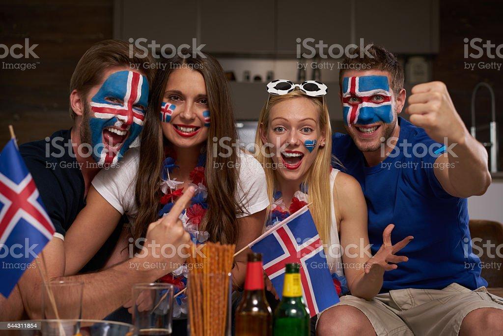 happy Iceland fans stock photo