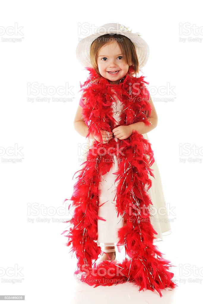 Happy in Her Red Boa stock photo