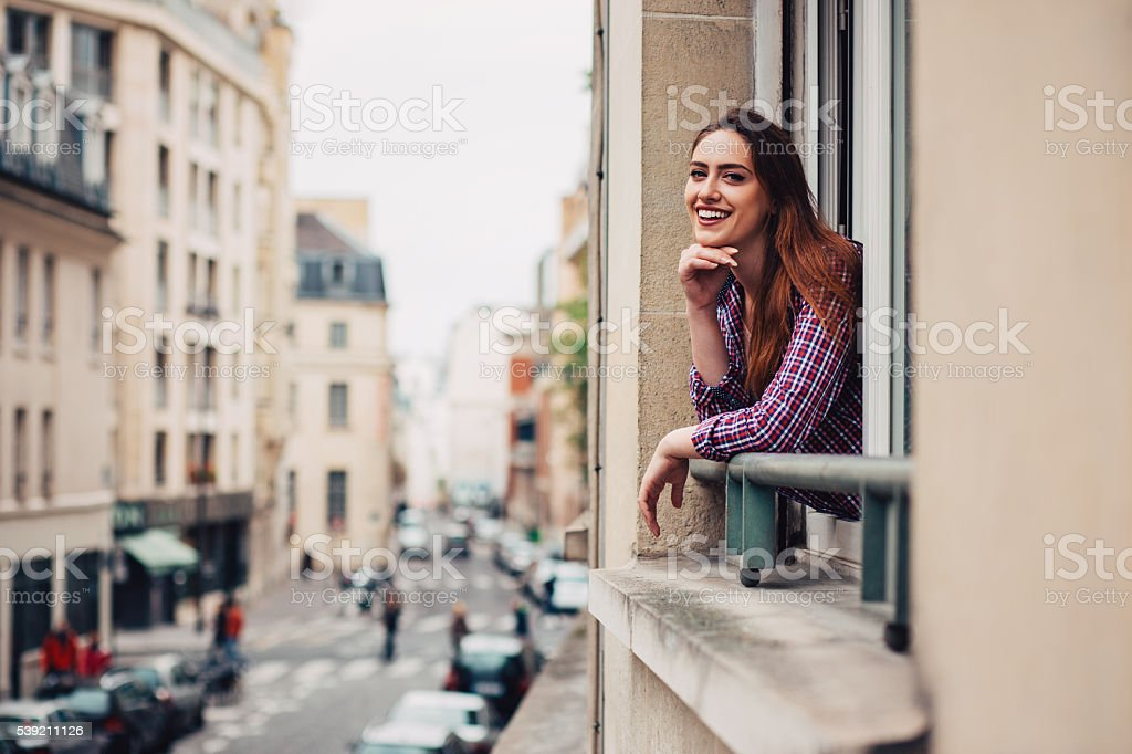Happy in Paris stock photo
