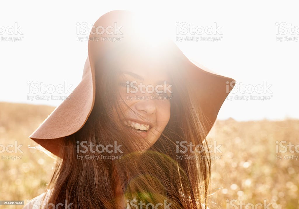 Happy in the fields of gold stock photo
