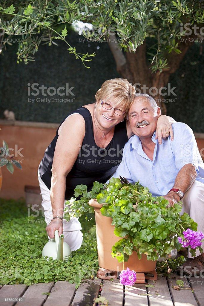 Happy in the garden stock photo