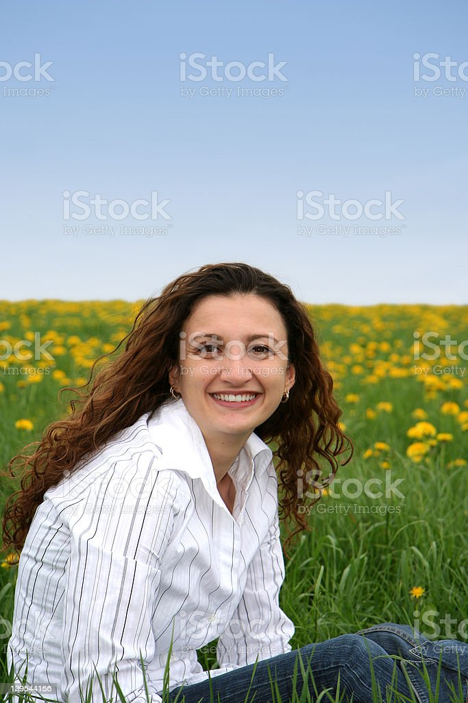 Happy in the meadow VI stock photo