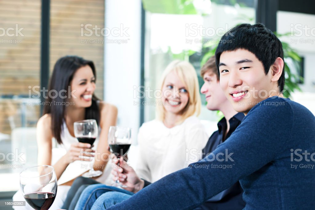 Happy in the party stock photo