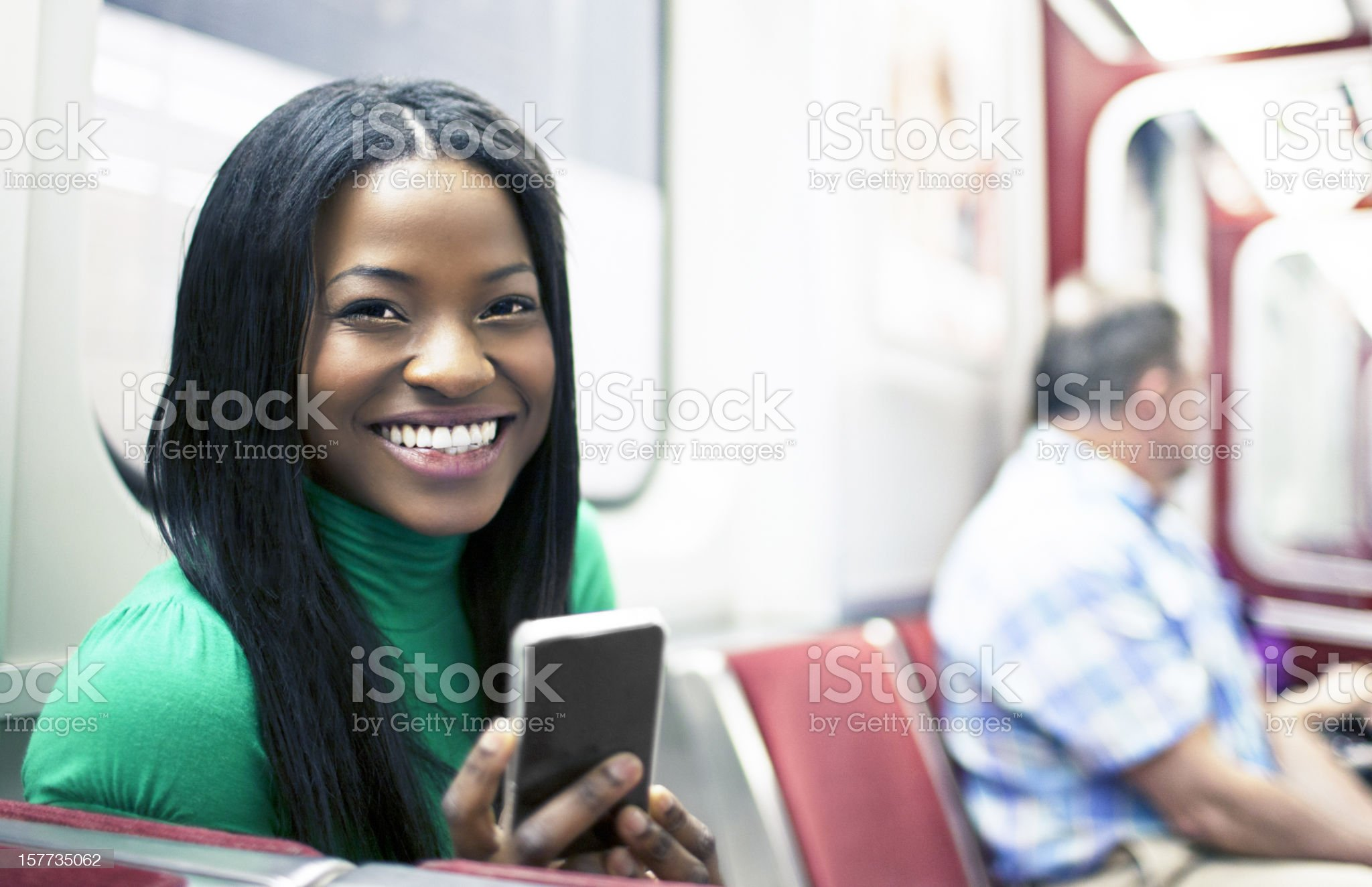 Happy in the train royalty-free stock photo