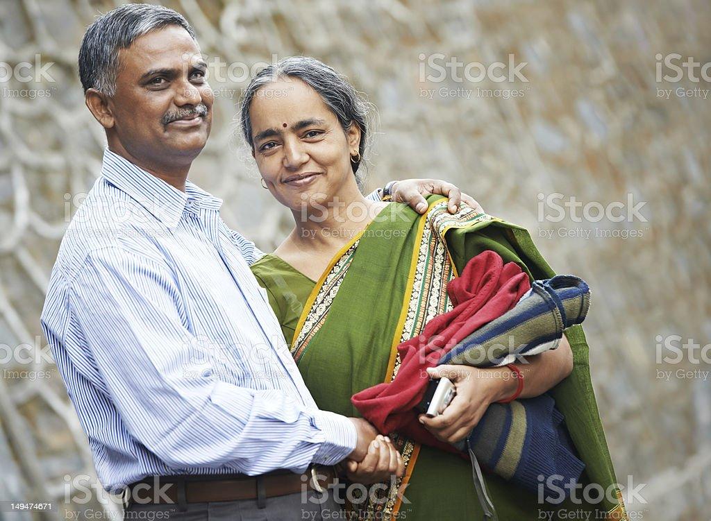 Happy indian adult people couple stock photo