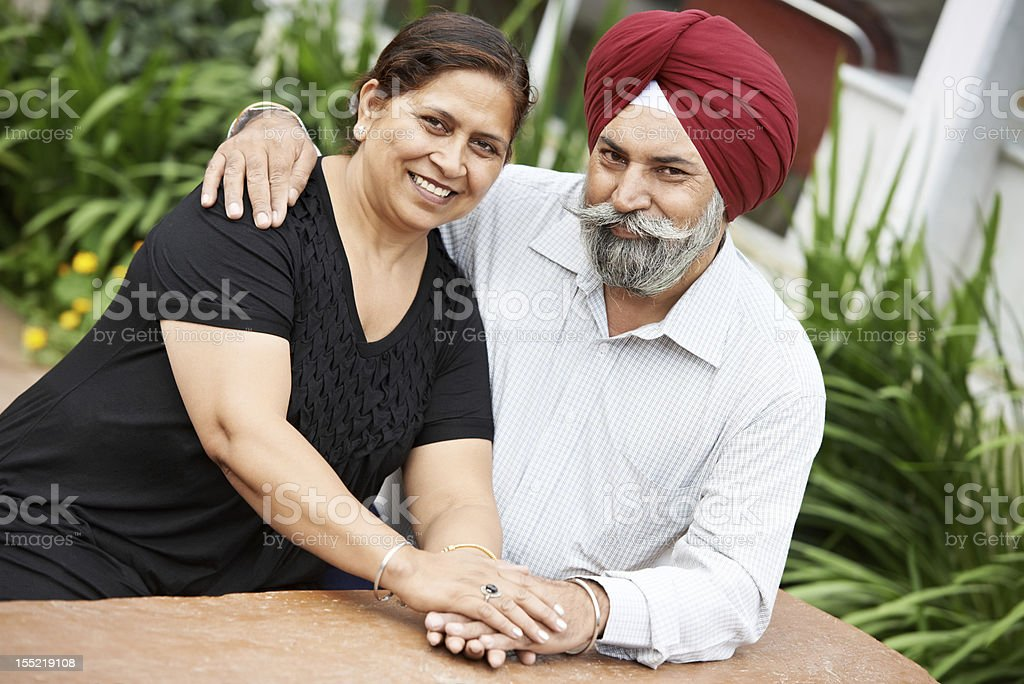 Happy indian adult people couple stock photo
