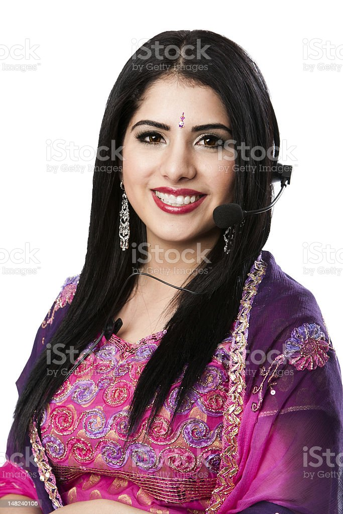 Happy Indian Customer Service Representative royalty-free stock photo