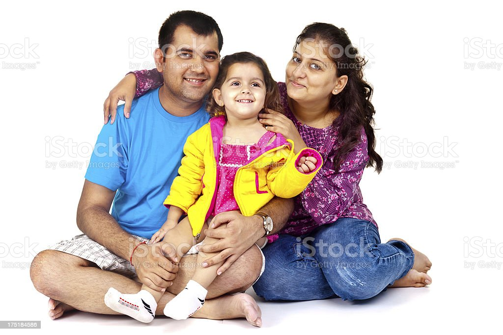 Happy Indian family of three Isolated on White royalty-free stock photo