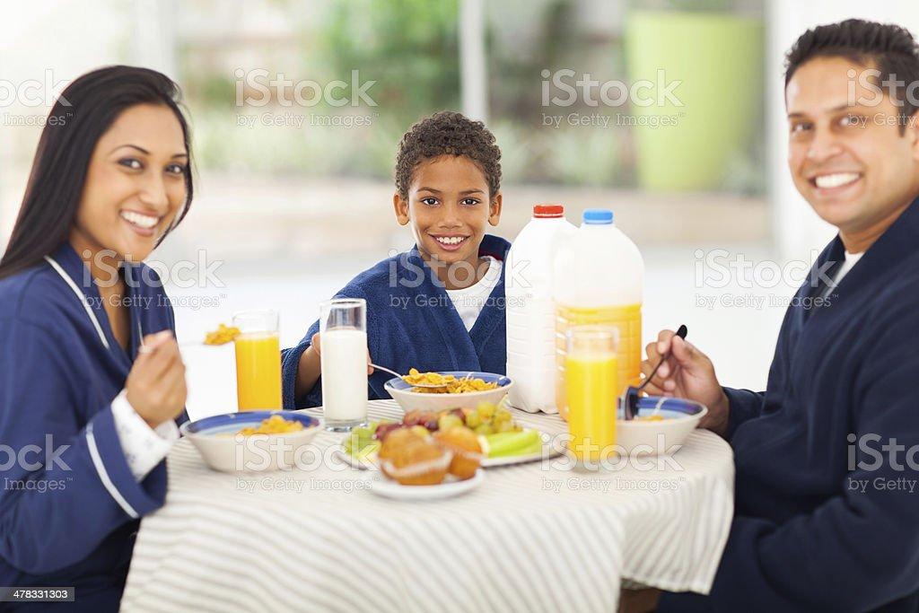 happy indian fmaily having breakfast royalty-free stock photo