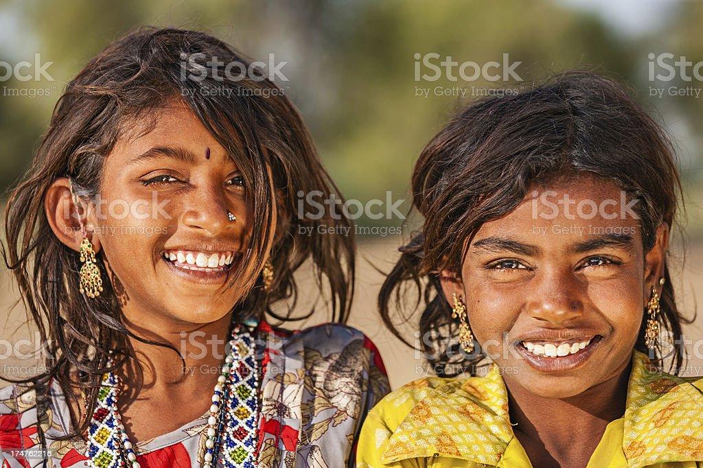 Happy Indian girls, desert village, India royalty-free stock photo