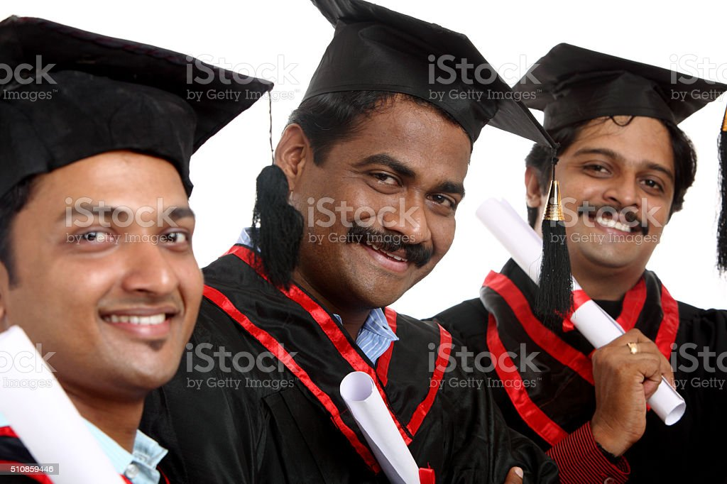 Happy Indian graduates stock photo