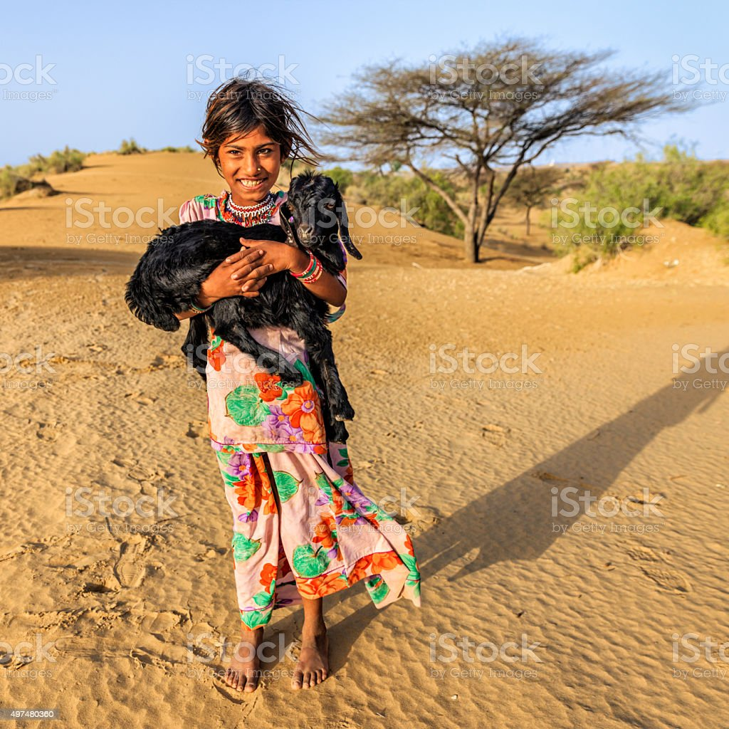 Happy Indian little girl holding a goat, desert village, India stock photo