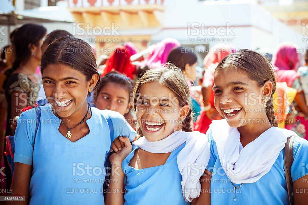 Happy Indian School Girls stock photo