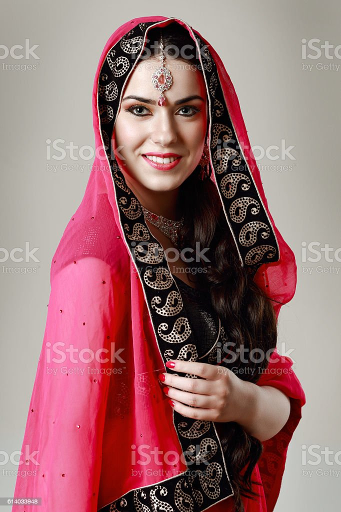 happy indian woman stock photo