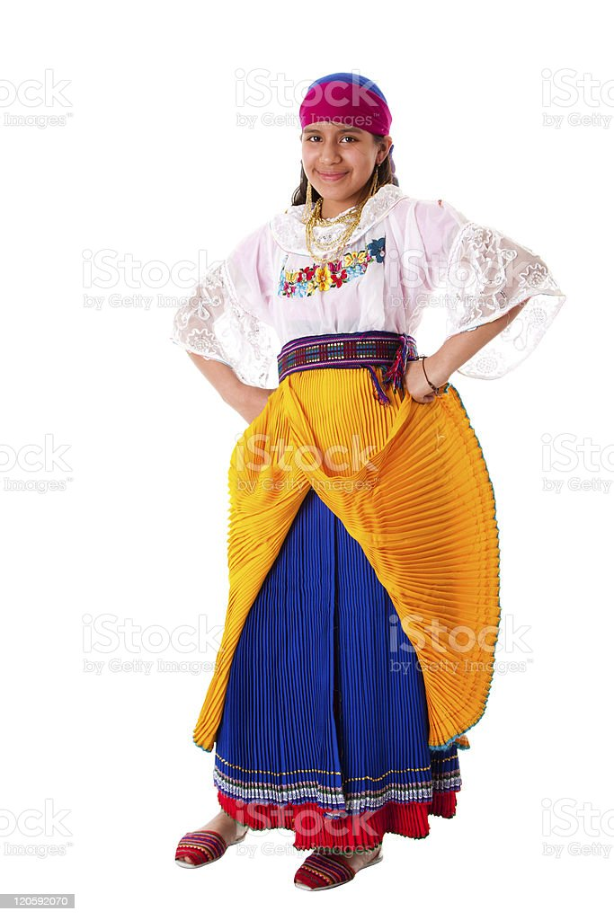 Happy indiginous Latina girl royalty-free stock photo