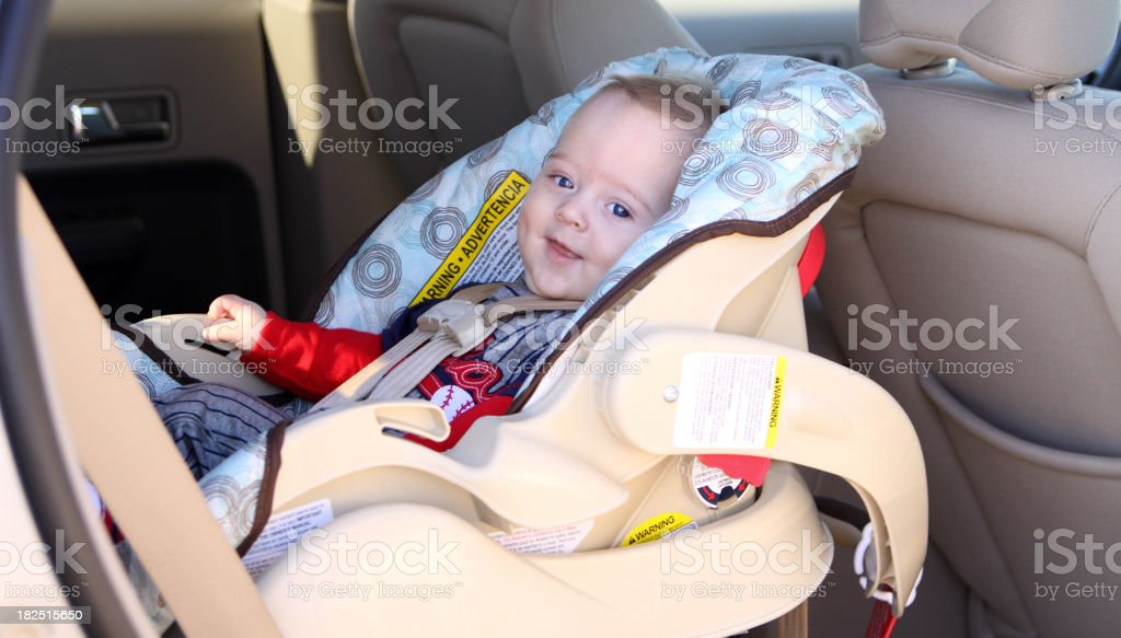 Happy Infant in Car Seat royalty-free stock photo