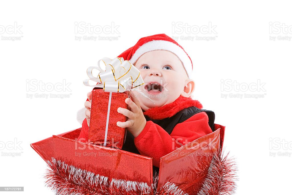 happy infant with gifts in the christmas box #2 royalty-free stock photo