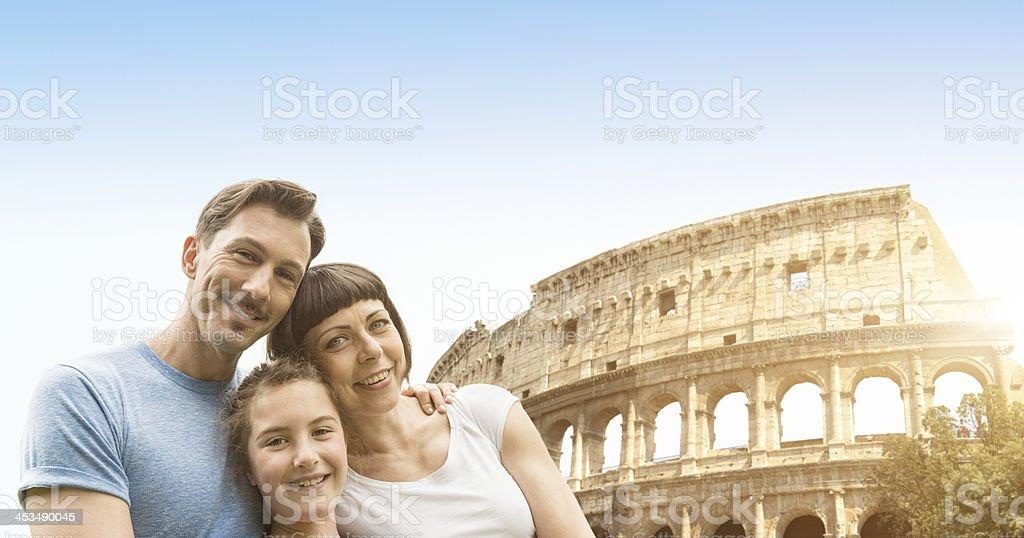 happy italian family in rome royalty-free stock photo