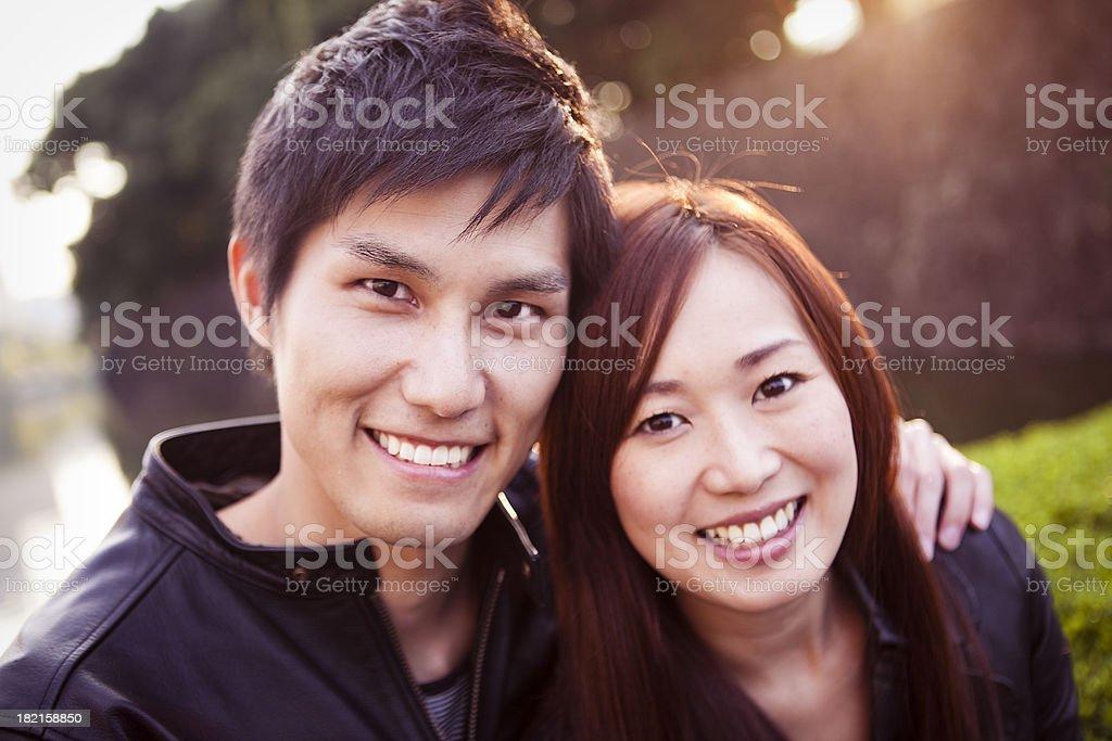 Happy Japanese Couple royalty-free stock photo
