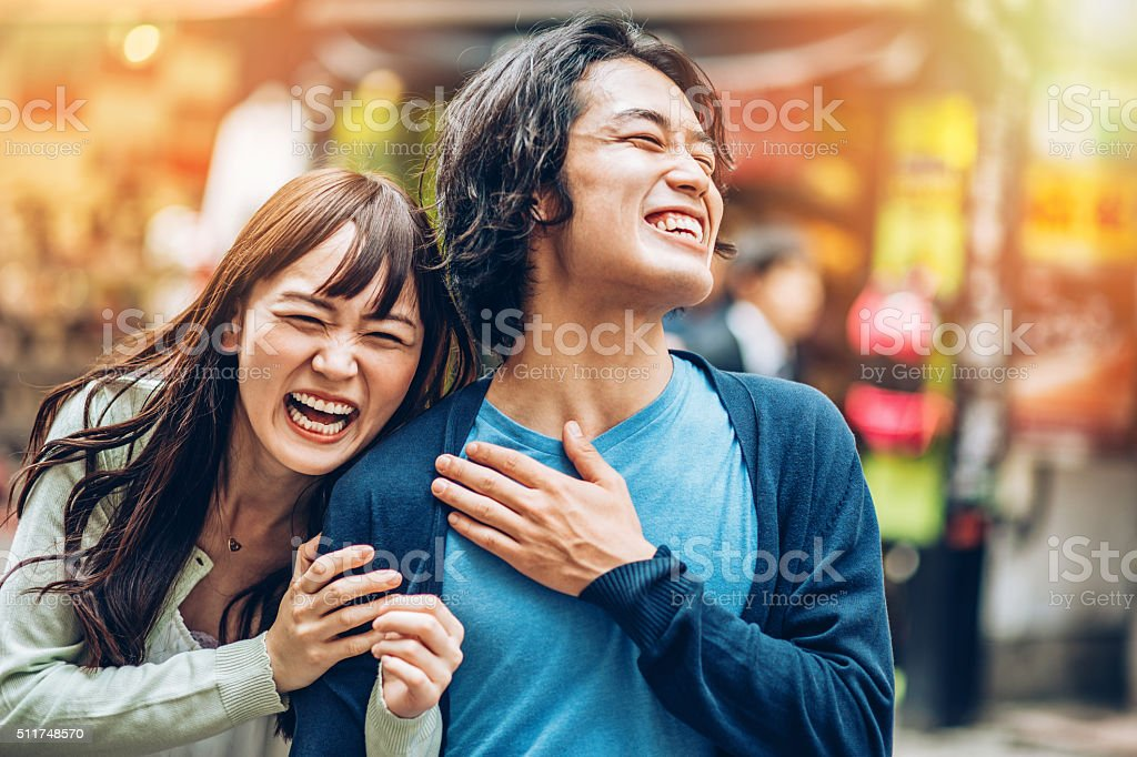 Happy Japanese couple stock photo