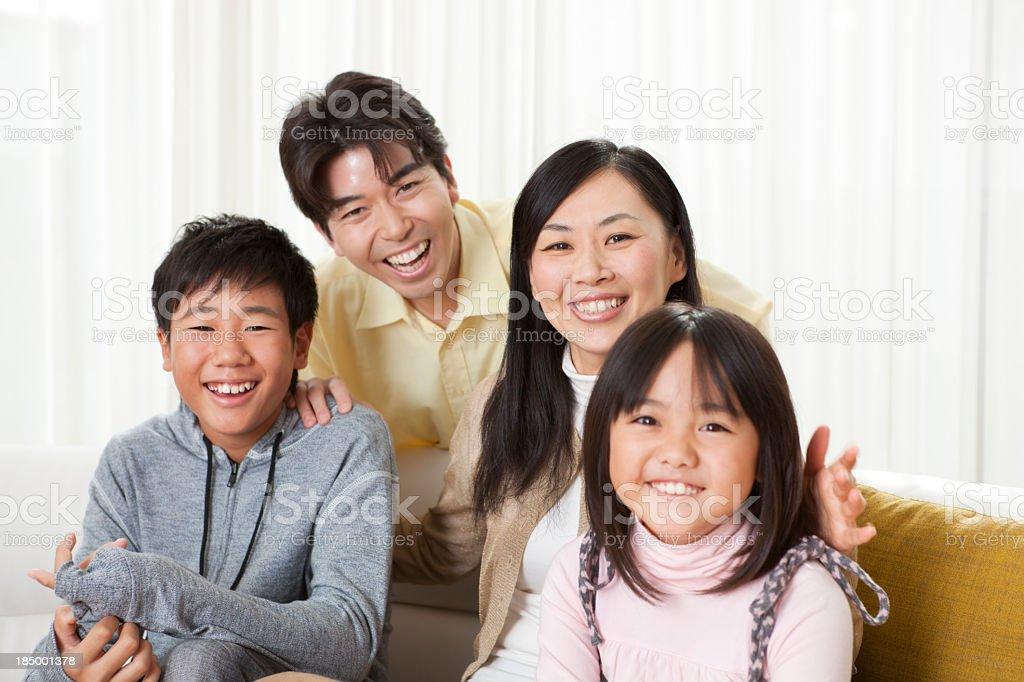 Happy Japanese Family Group Portrait Hz royalty-free stock photo