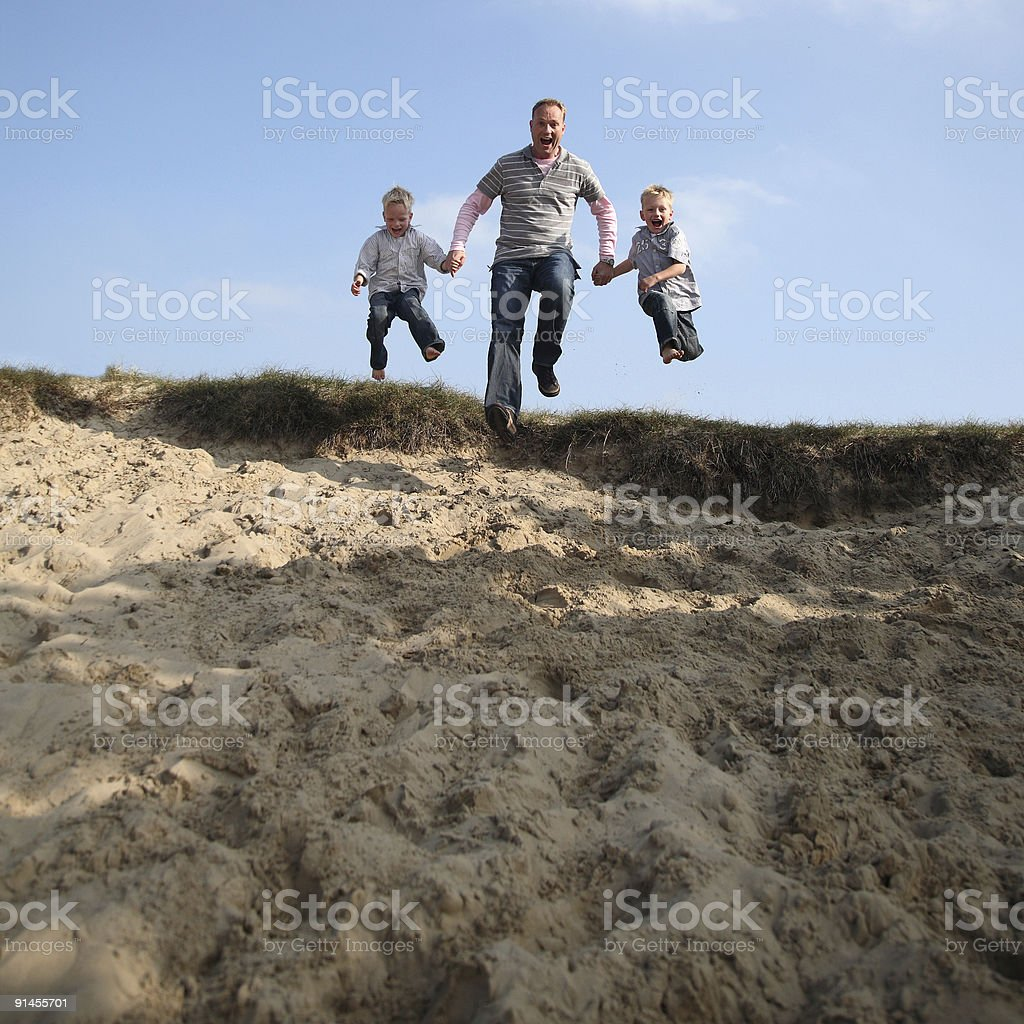 Happy Jumping Family royalty-free stock photo